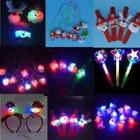10pcs Light Up Flashing Ornaments Party Pat Circle Clap Brooch Headbands Wand Christmas