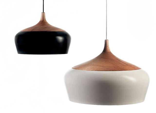 Modern pendant light Oak Wood lamp E27 socket wood lampholder Hanging light white black Optionally 300mm / 350mm