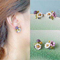 Europe And The United States Enamel Glaze Copper Trendy Chrysanthemum Flower Asymmetry Crystal Women Earring Stud
