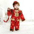 Хлопок Детей Тан Костюмы Зима Весна Утолщенной с Бархатной Новый год Одежда для 0-3 Y Ребенка 3 шт. Наборы Ребенка День Рождения подарки