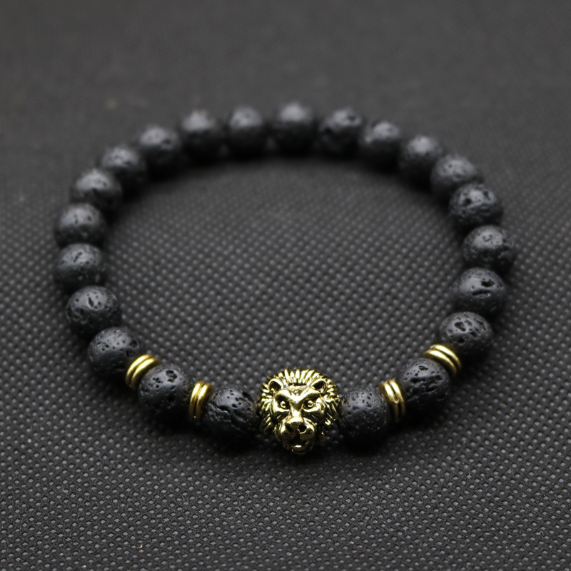 Wholesale Antique Gold-Color Buddha Leo Lion Head Bracelet Black Lava Stone Beaded Bracelets For Men Women Pulseras Hombre N4-3
