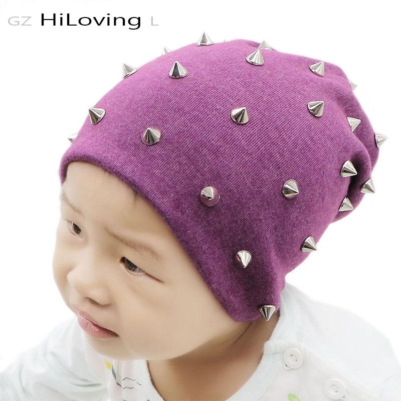 GZHilovingL 2017 Autumn Winter Baby Cotton Hat Soft Baby Boys Girls Kids Rivet Slouch Beanies Hat Solid color Girls Hat Cap