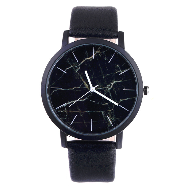 Zegarki 2018 Hot Sale Fashion Simple Marble Colour Dial Black Leather Men Women Quartz Watch Fashion Casual Sport Watch Relojes