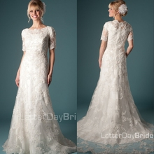 cecelle Lace Mermaid Modest Wedding Dresses With