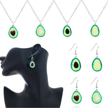 Cute avocado shape pendant necklace set for women girls fruit shape chain Charm Necklace jewelry accessories Party Gift milky blue earring and pendant necklace flower shape pendant necklace jewerly set for women gift