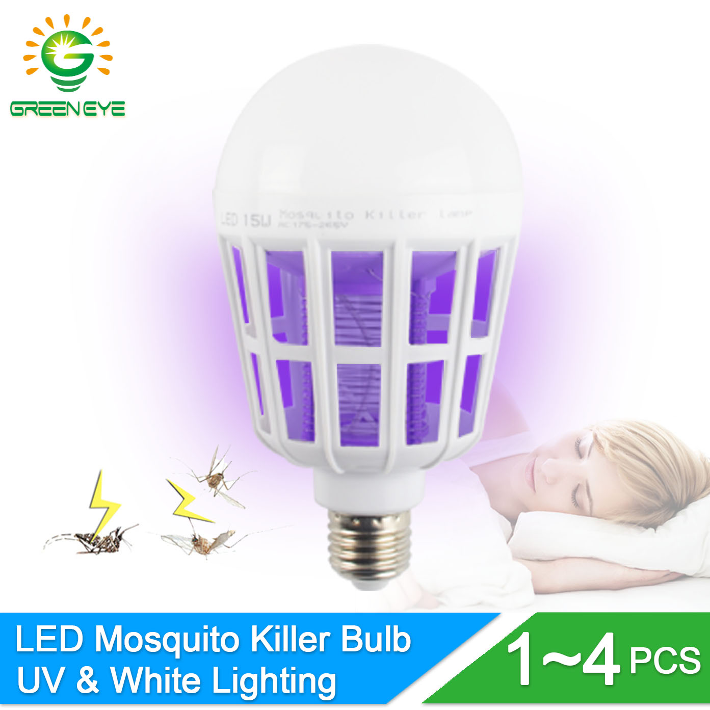 GreenEye 1 4Pcs 2Mode UV Trap Electric Shock LED Mosquito Killer Lamp Bulb E27 220v 15w