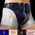 New Arrival Men Latex Rubber Underwear Sexy Zipper Crotch Boxer Briefs Tight Underpants Tight-fitting Shorts Clubwear Plus Size