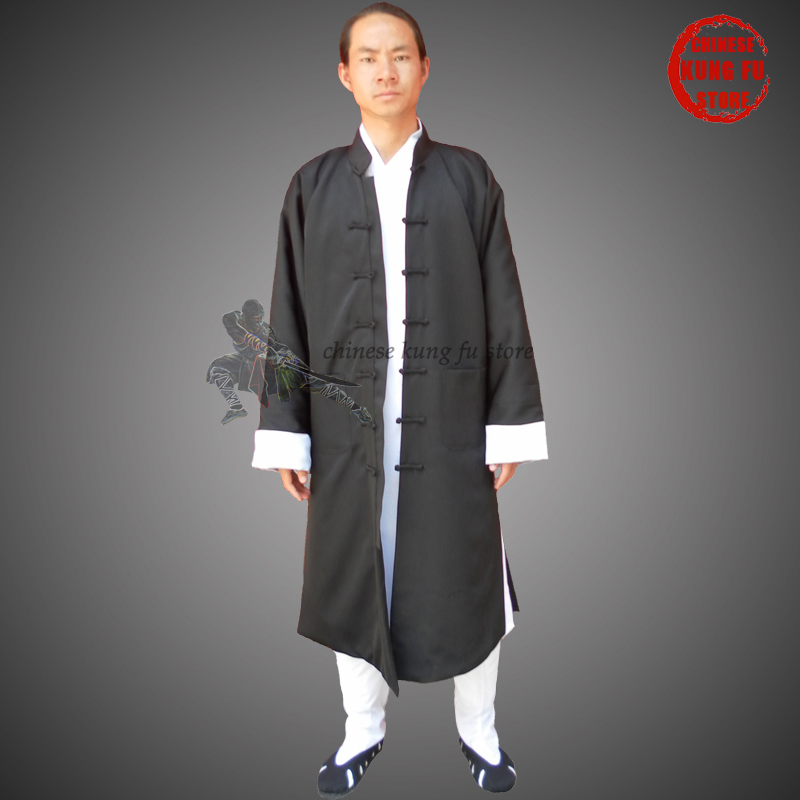 Custom Made Beautiful Wudang Taoist Long Kung Fu Robe With White Cuffs And Many Handmade Buttons In The Front
