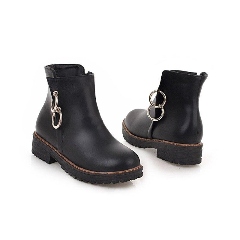 donna casual nero scarpe con 2018 nuovi Asumer da ballo bianco stivali 43 taglia donna tonda decorazione grande punta marrone zip nero metallo 34 caviglia BPtSqO