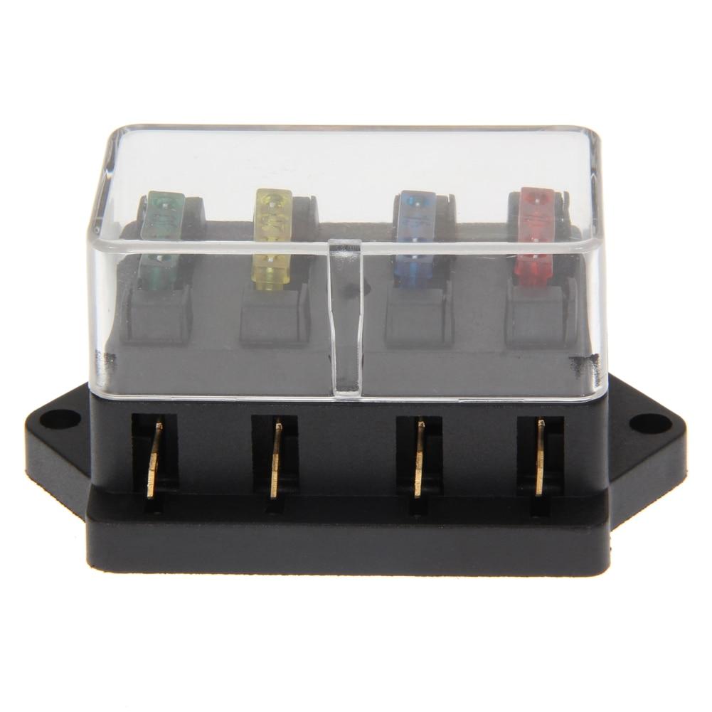 4 way circuit standard blade fuse box block holder 12v/24v + fuse