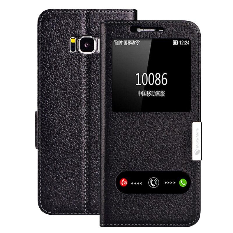 imágenes para Para Samsung Galaxy S8 caso Moda Cubierta Ventana de Visualización Del Tirón Del Cuero Genuino Para Samsung Galaxy Plus S8 S8 + Teléfono casos
