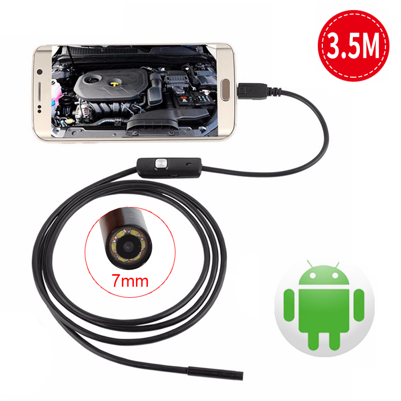 7mm Mini Endoscope For Smartphone Camera Android USB Cable Pipe Waterproof Led Surveillance HD Inspection Endoscope Wistino 7mm 2m endoscope endoskop android usb phone camera cable otg tube borescope pipe waterproof ip67 inspection surveillance wistino