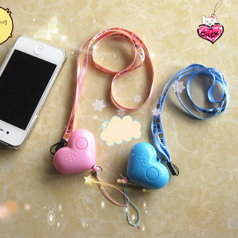 Self Defense Alarm 120dB Heart Shape Girl Women Security Protect Alert Personal Safety Scream Loud Keychain Emergency Alarm