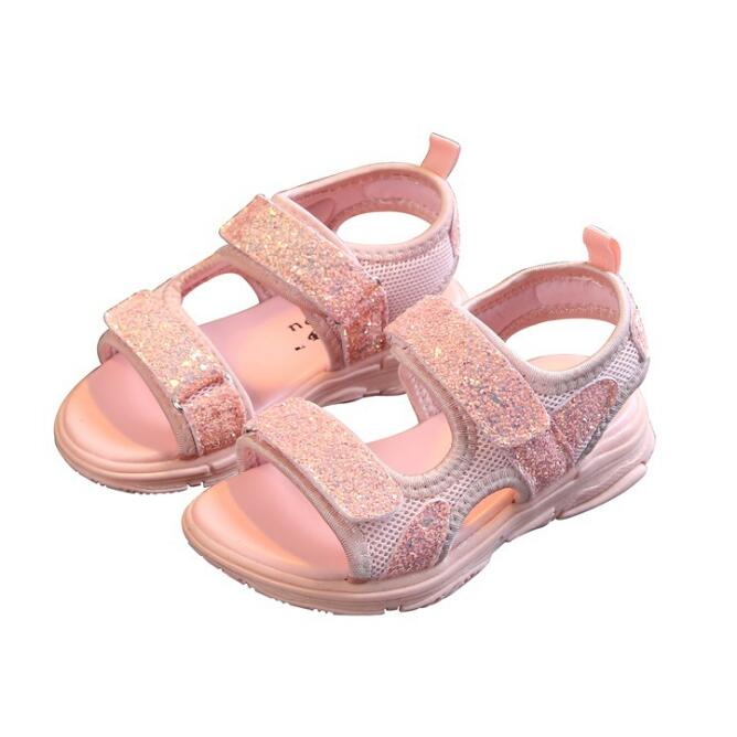 Kids Summer Sandals With Sequins 2019 New Girls Princess Beach Shoes Fashion Boys Mesh Sports Sandals Black Pink EU 21-36 Kids Summer Sandals With Sequins 2019 New Girls Princess Beach Shoes Fashion Boys Mesh Sports Sandals Black Pink EU 21-36