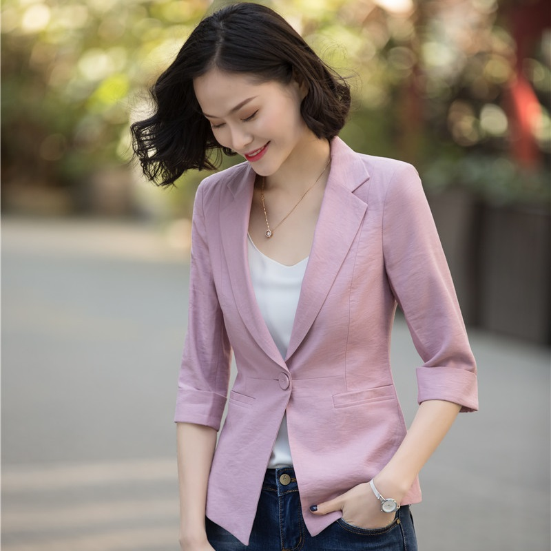 Novelty Pink Casual Blazers & Jackets Coat 2018 Spring Summer Blazer For Business Women Office Ladies Female Tops Outwear