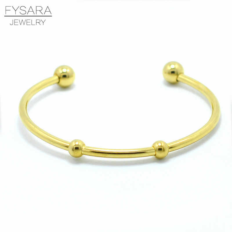 FYSARA Wholesale Gold-Color Bangles Simple Jewelry Round Bracelets Bangles Super Fine Open BangleWomen DIY Cuff Bangles