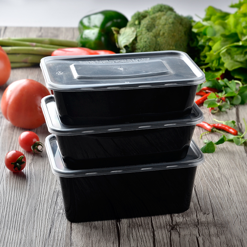 25 OZ 750ml Black Plastic Lunch Box with Lid Disposable Takeout Food