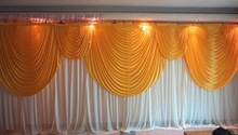 6m/20ft (w) x 3m/10ft (h) White Wedding backdrop curtain with gold swags wedding props wedding background veil