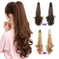 MEIFAN syntetyczne kręcone fala pazur na kucyk przedłużanie włosów fałszywe kucyk z spinki do włosów dla kobiet czarny brązowy treski