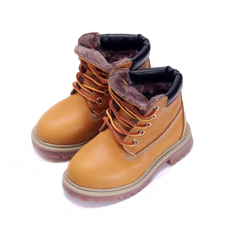 b33b2e244 Alta Qualtiy Novas Crianças Martin Botas Botas de Couro Genuíno Nova Moda  Quente Botas De Neve Crianças Inverno Sapatos Da Moda Quentes