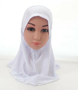Image 3 - Girls Kids Muslim Hijab Islamic Arab Scarf Shawls with Beautiful Rhinestone Fashion Headwear Accessories 3 8 Years old