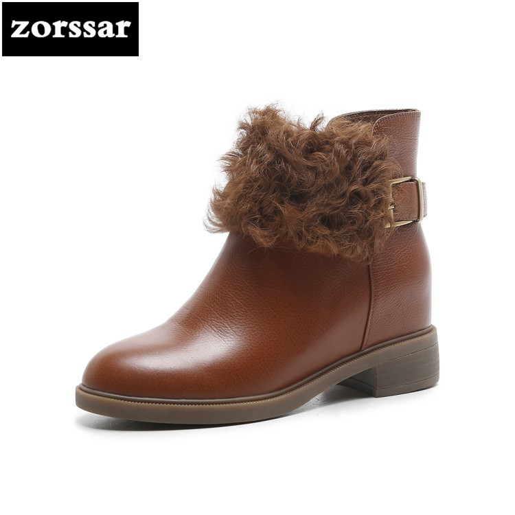 {Zorssar} winter Warm Fur women boots high heels ankle boots low heel shoes Leather women snow boots botas mujer invierno цены