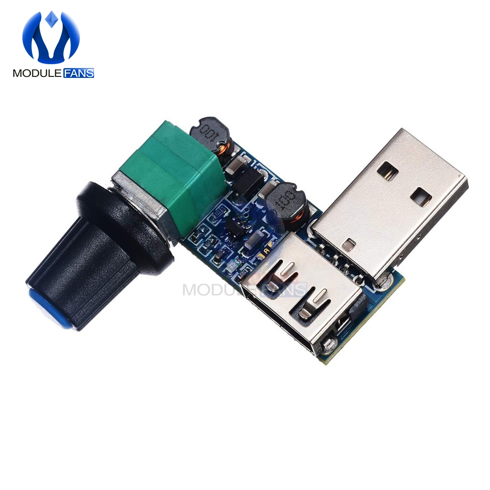 DC 5V USB Fan Stepless Speed Controller Regulator with Switch Speed Module