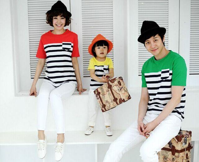 Семья мода лето 2015 полоса с коротким рукавом хлопка семья упаковке одежда комплект для матери отец и дочь сын