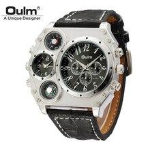Oulm גדול גדול חיוג יוקרה Mens ספורט שעונים זכר קוורץ שעון עור מפוצל רצועת שעוני יד relogios masculino esportivo