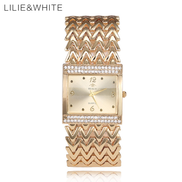 LILIE&WHITE New Luxury Square Man Quartz Watch Office Wide Wavy Shape Metal Stra