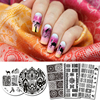 5Pcs Ethnic Style Stamping Plate Template Round Rectangle Nail Art Image Plate