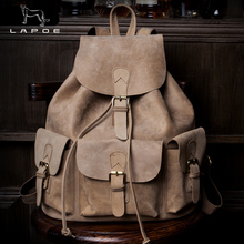 LAPOE High Quality Genuine Leather Vintage Fashion Crazy Horse Leather Backpack Women Men Backpack Shoulder Bags