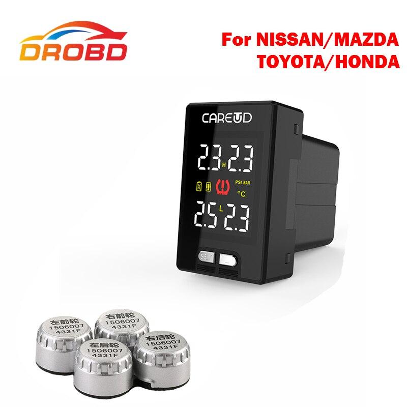 Auto Diagnostic-Tool Careud U912 With 4 External Sensors Tyre Pressure Monitoring System Car TPMS PSI/BAR LCD Display