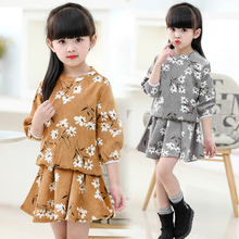 JENYA children's clothing set 2017 new spring&autumn girl baby fashion three quarter lantern sleeve floral coat+Mini Skirt 2 pcs