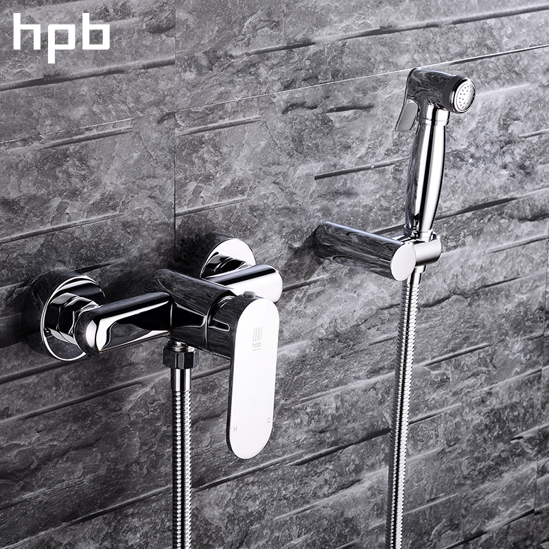 HPB Handheld Bidet Faucet Wall Mounted Single Handle Hot And Cold Water Brass Bathroom Toilet Cleaning Spray Faucet HP7011 smart thermostatic bidet mixer spray shower set faucets bathroom hot cold water hand held toilet bidet spray gun chrome in wall