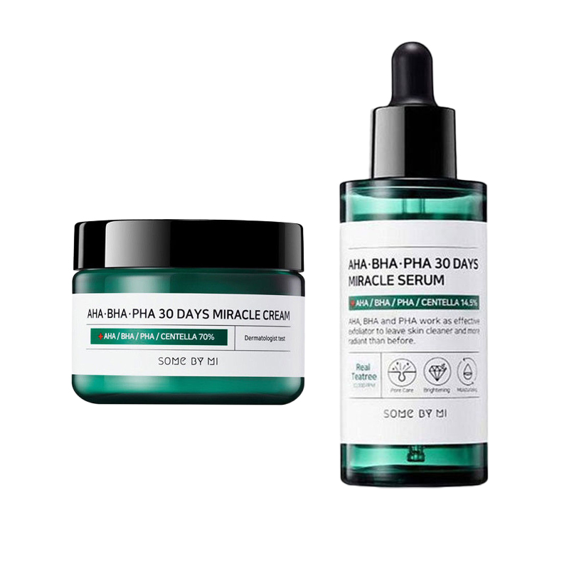 SOME BY MI AHA BHA PHA 30 Days Miracle Cream + 30 Day Miracle Serum Face Cream Blackhead Removal Acne Scar Treatment Facial Care