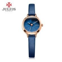 Корейский Дизайн Для женщин кварцевые наручные часы синий кожаный Montre Femme 30 м тонкий водонепроницаемый дамы тонкий циферблат 23 мм Whatch Reloj JA-979