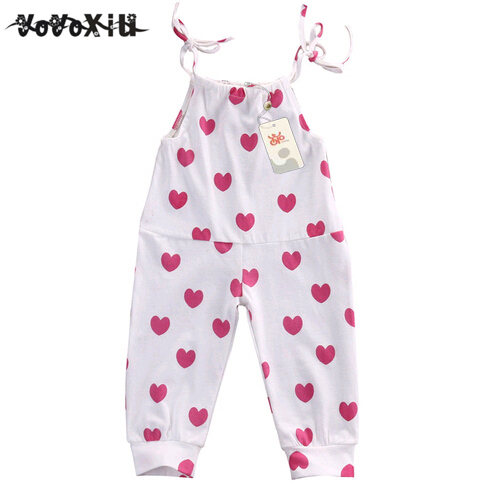 2018 Newborn Baby Girl Infant Toddler Spaghetti straps Bodysuits Jumper Hearts Jumpsuit Clothes