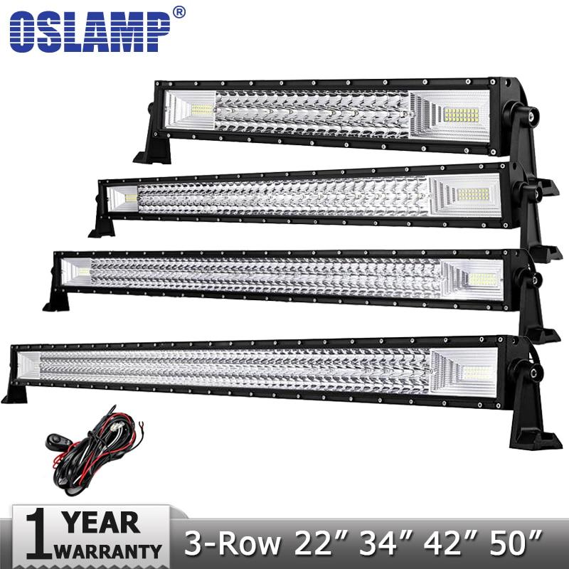 Oslamp 22 34 42 50 3-row Straight LED Light Bar Offroad Combo Beam Led Work Light Lamp for 12v 24v Truck SUV ATV 4x4 Led Bar auxmart triple row led chips 12 led