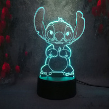 Amroe 3D Night Light Cute Cartoon Stitch 7 Colors Led Lamp Usb Remote Touch Baby Roon Bedroom Table Light Kids Christmas Gift