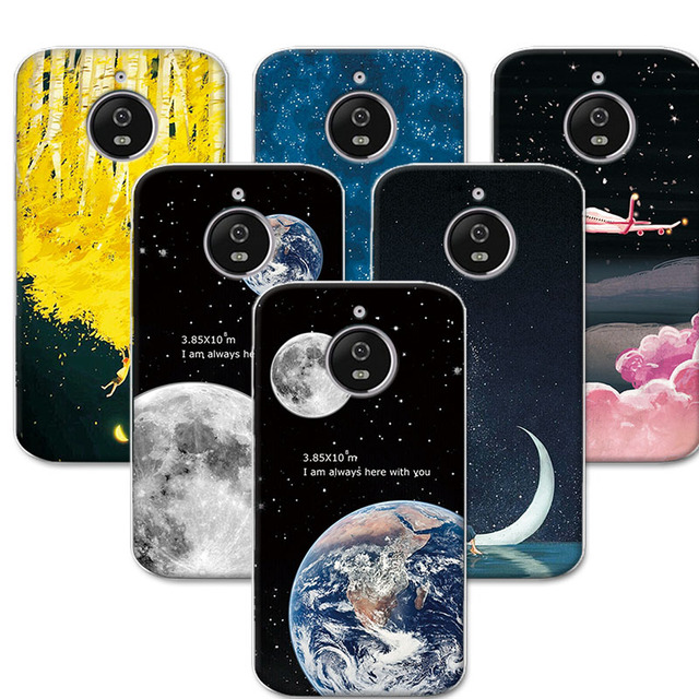 soft silicone case for motorola e4 plus back cover coque 5 5 inch space stars moon couple phone. Black Bedroom Furniture Sets. Home Design Ideas
