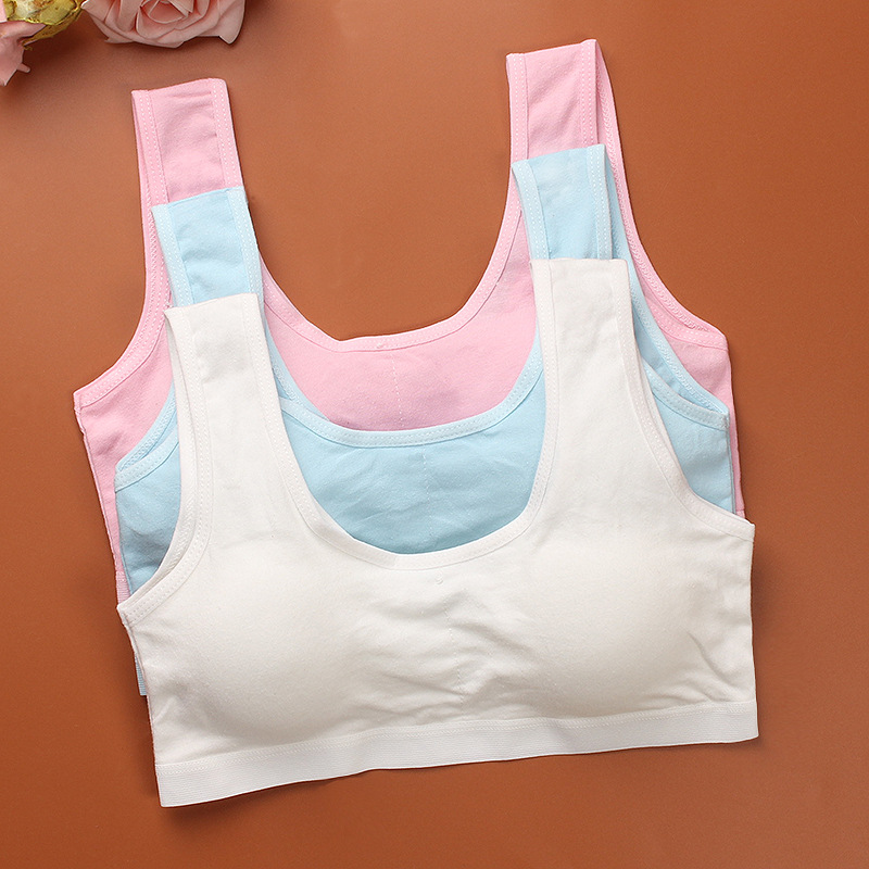 Teenage Kids Bra Girls Underwear Clothing Cotton Teen Sports Bra with Chest Pad Puberty Girl training Bra Children Underclothes girls bra kids thin cotton teenage underwear small young girl training bra sports student wholesale children bra girls