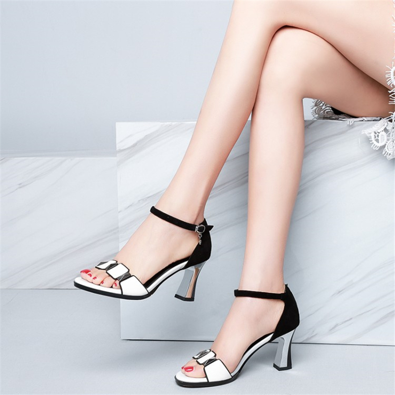 MSSTOR Fashion Peep Toe White Shoes Woman High Heel Buckle Strap Casual Genuine Leather Party Summer Shoes Mixed Colors Sandals