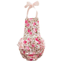 Cute Ruffle Baby Girl Rompers Lace Floral Print Toddler Clothes Infant Newborn Jumpsuit Summer Dress Baby Girl Clothing