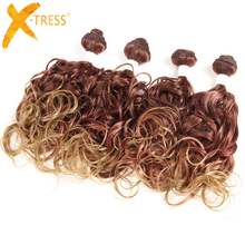 X-TRESS Synthetic One Pack Wave Wave Extensiones de Cabello 4 Bundles / Pack Full Head Omber Color de fibra de alta temperatura Hair Weaves