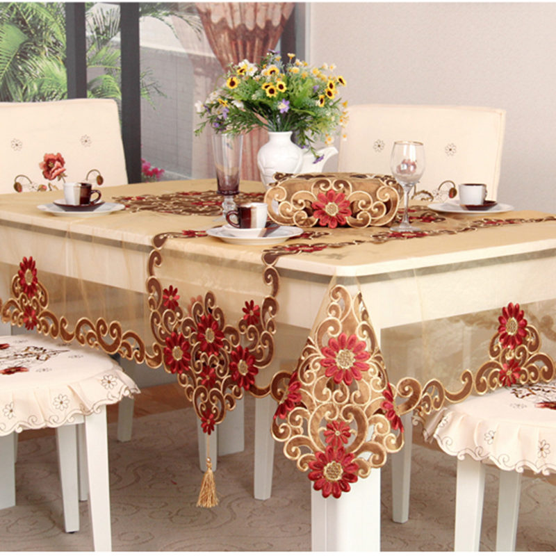 Hot European Embroidery Lace Tablecloth Dinning Table Cover Tea Table Cloth Luxury Runner Dish Mat Tissue Box Cover Textile Sale