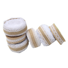 5 MetersJute Cloth Roll Hemp Rope Ribbon Volume Linen DIY Handmade Lace Christmas Wedding Crafts Party Supplies