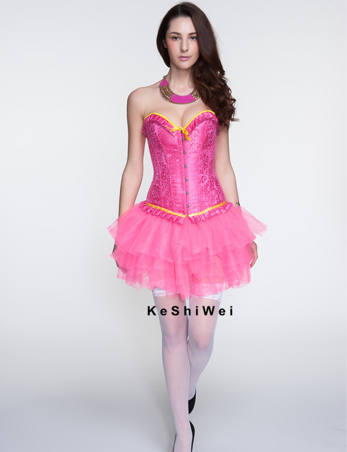 Print Women Corsets with Bow Lace Up Overbust Pink Bustier Gothic Steampunk Corset
