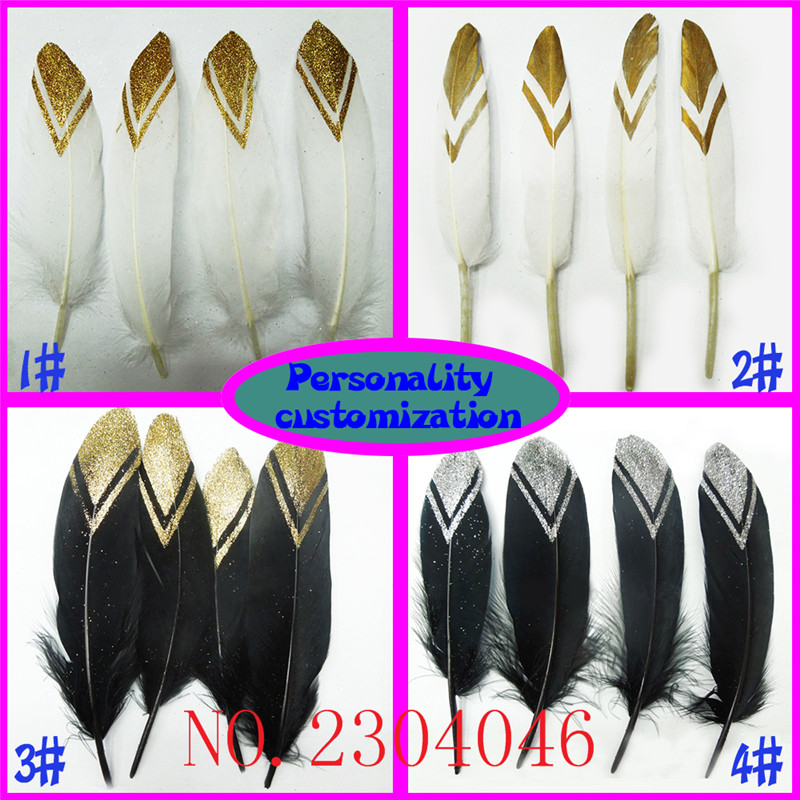 Wholesale 100 4-8inch (10-20CM) duck feathers head gold jewelry DIY jewelry decorative buckle accessories