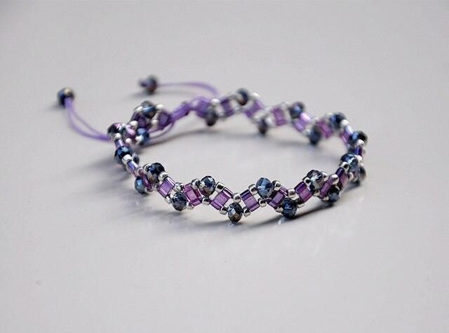 Tila Seed Bead Mix Crystal Nylon Bracelet Adjule